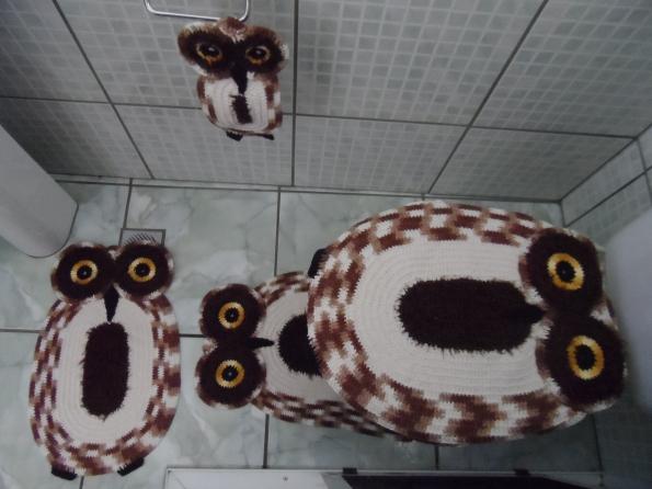 Jogo banheiro em croche corujas